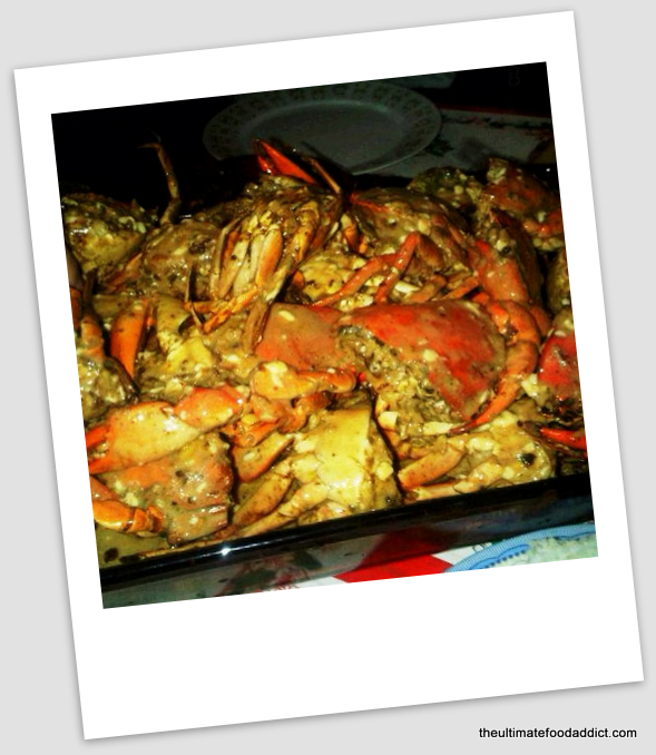 Dad's famous specialty: Garlic chili crabs with cheese and butter